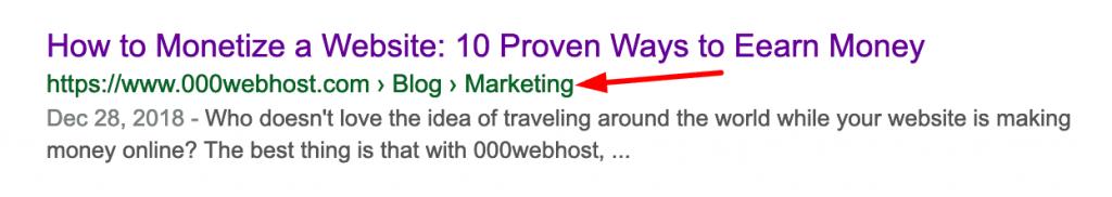 Ejemplo de Breadcrumbs de WordPress en la búsqueda de Google