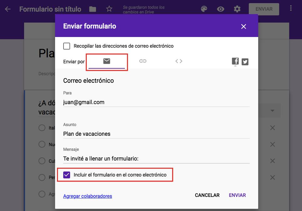 Incrustar el formulario de Google en el correo electrónico para un destinatario