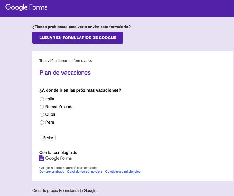 Formulario de Google en el cuerpo del correo electrónico