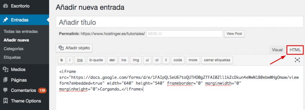 Cómo se ve Google Form en el editor de texto clásico