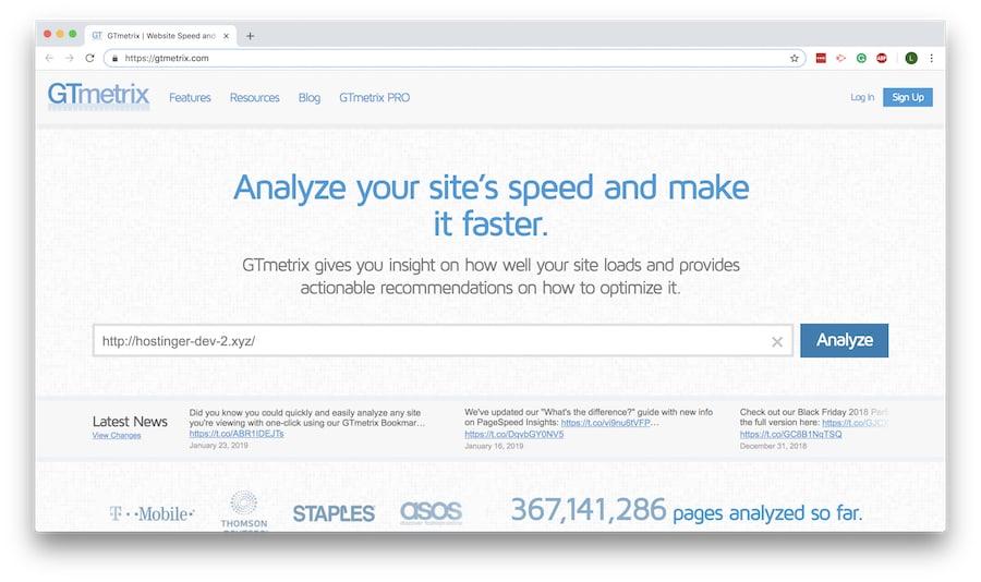 Página de inicio de GTmetrix