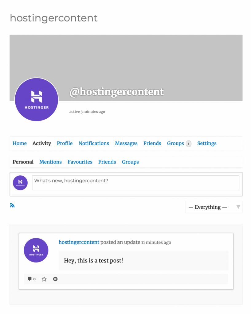 Mensaje de estado de prueba en la página de actividad de BuddyPress