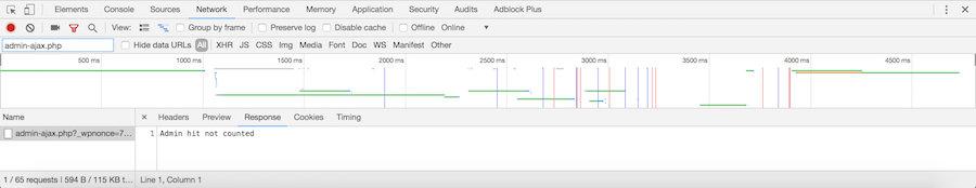 Informes de la consola de Chrome admin-ajax.php