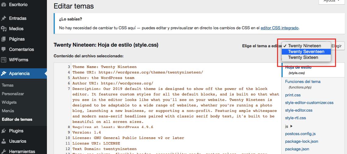Menú desplegable para seleccionar temas en el editor de plantillas de WordPress
