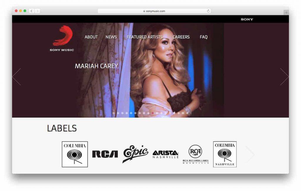 Página oficial de Sony Music