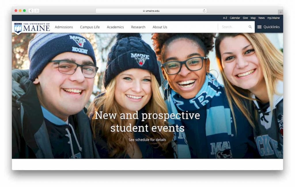 Sitio web de la Universidad de Maine
