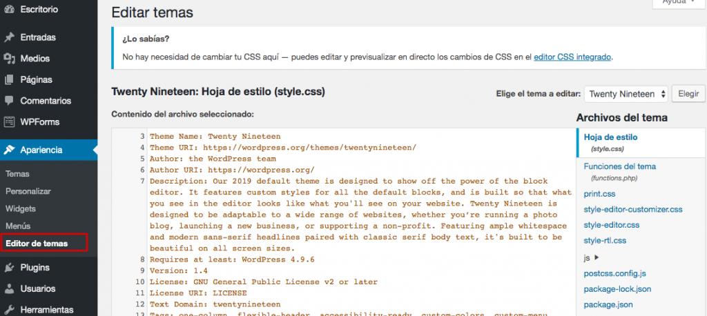 interfaz de editor de plantillas de wordpress