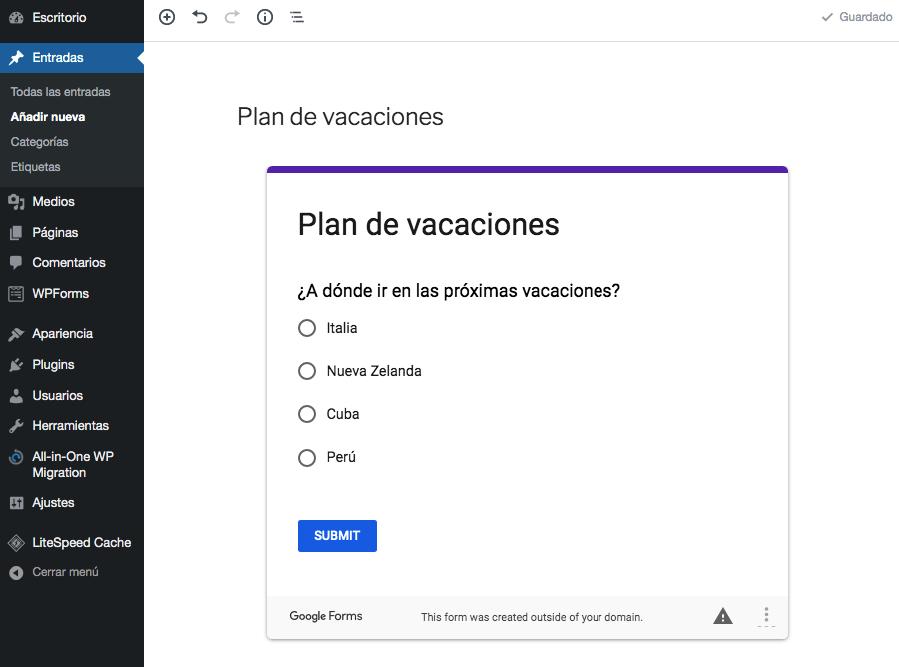 Vista previa del formulario de Google usando el nuevo modo de edición visual