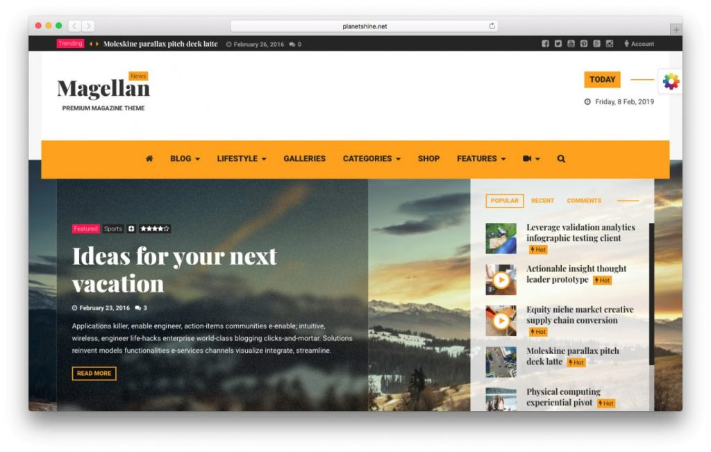 tema de video magellan wordpress