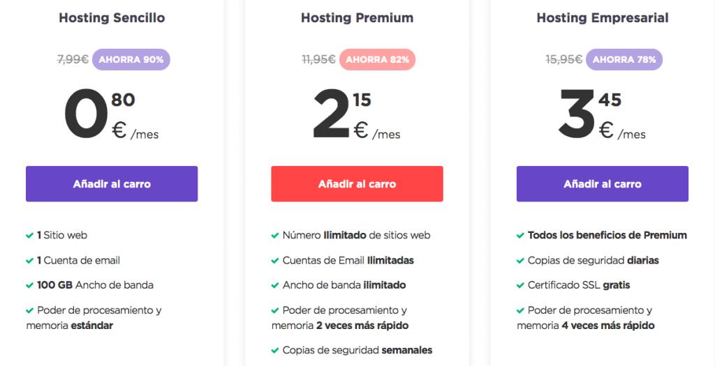 Precios de alojamiento web de Hostinger