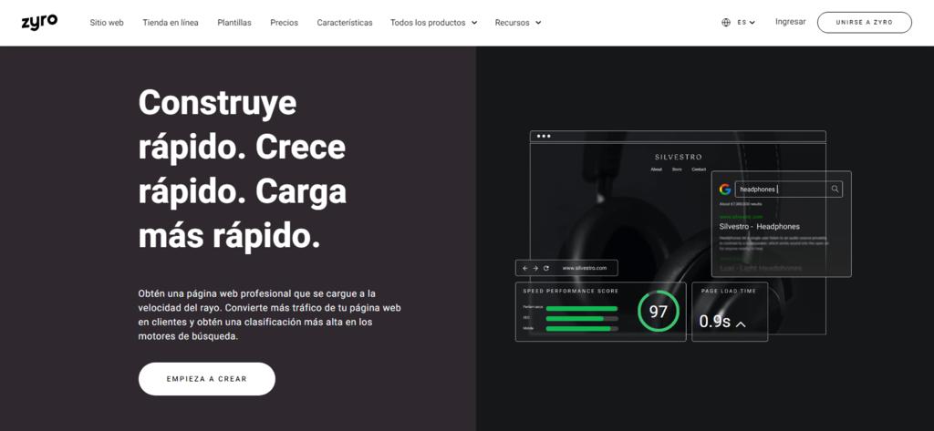 Página de inicio del contructor de sitios web Zyro