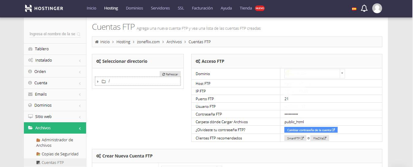 Detalles de la cuenta de ftp de Hostinger en el panel de control