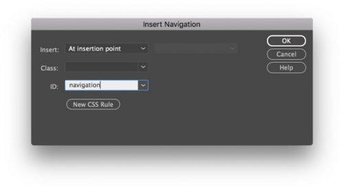 Inserte la navegación como ID