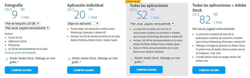 Descripción general de precios de Adobe Dreamweaver CC para individuos