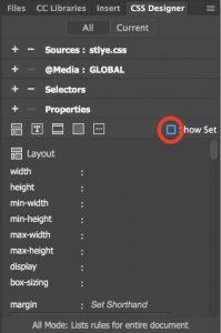 Desmarcando el conjunto de programas para desbloquear propiedades CSS