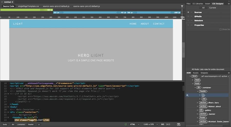 Sitio de una página en el espacio de trabajo de Dreamweaver