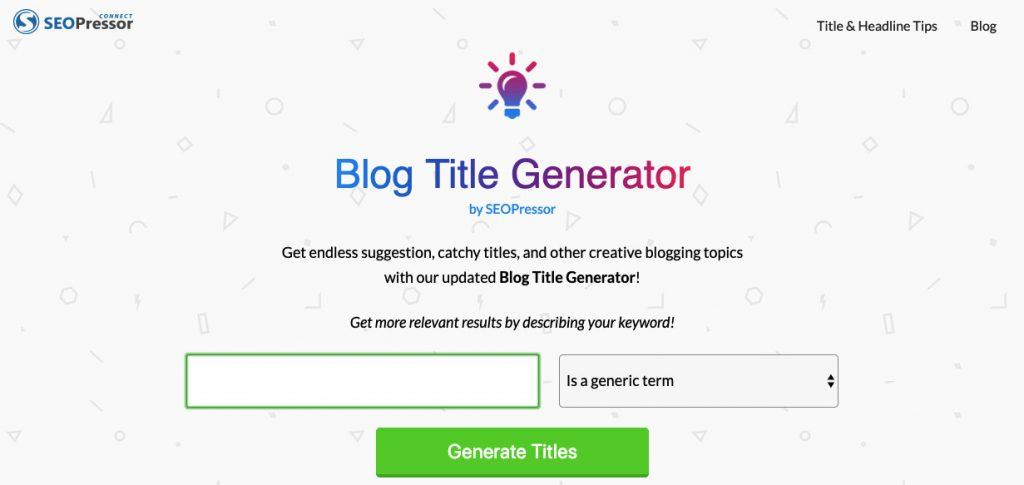 Blog Title Generator generador de títulos de blog