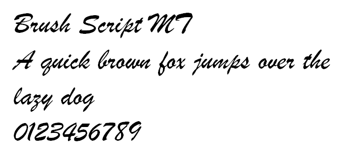 Diseño de fuente Brush Script MT