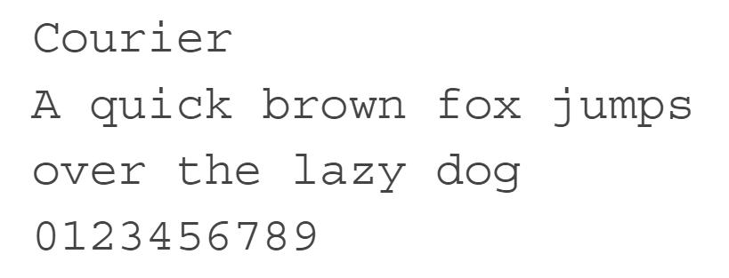 Tipo de letra Courier