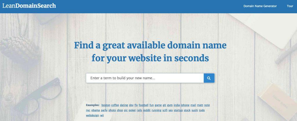 lean generador de nombres de blogs de búsqueda de dominios