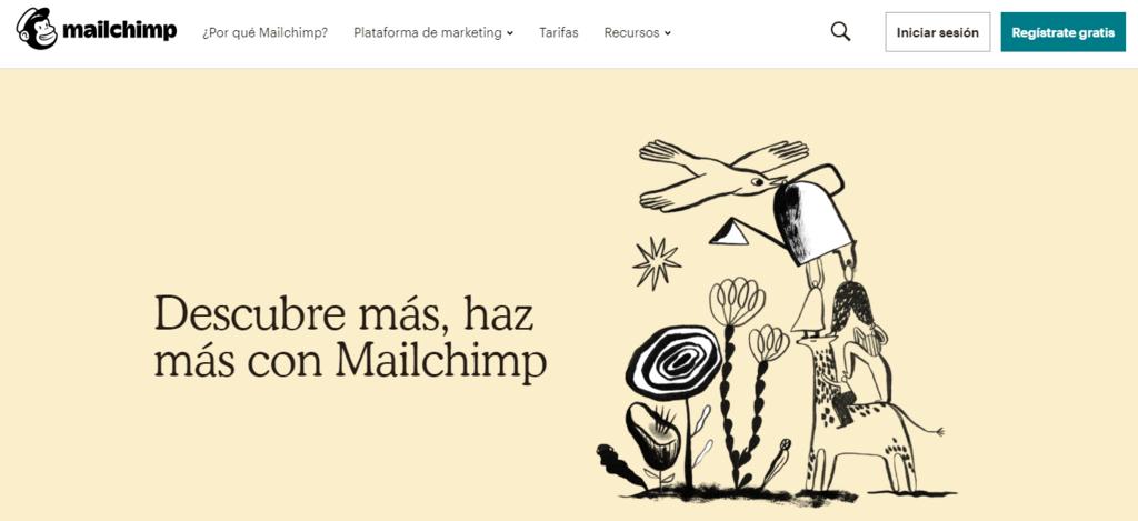 Página de inicio del eslogan de Mailchimp