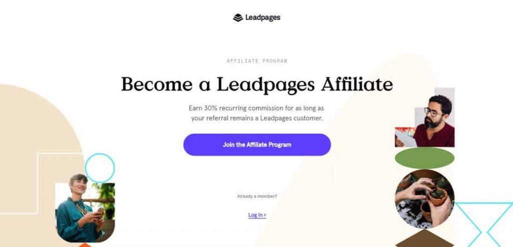 Ejemplo de página de aplicación del programa de afiliados de Leadpages