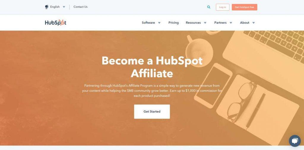 Ejemplo de página de destino de afiliados de HubSpot
