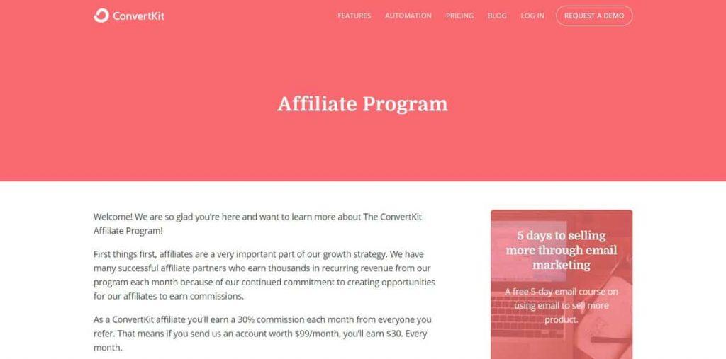 Ejemplo de página de inicio de ConvertKit Afiliados