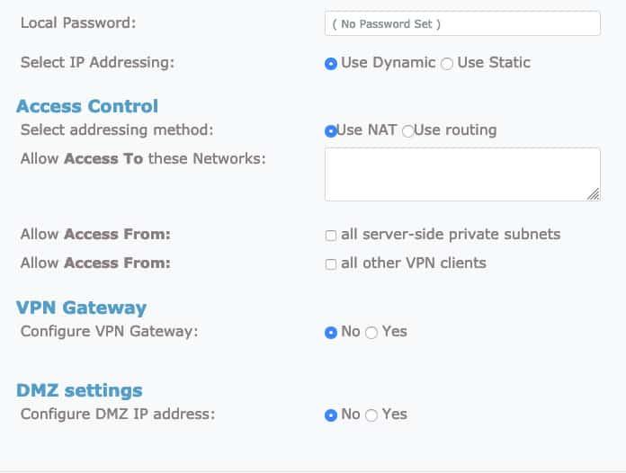 Ficha de configuración avanzada de usuario de OpenVPN