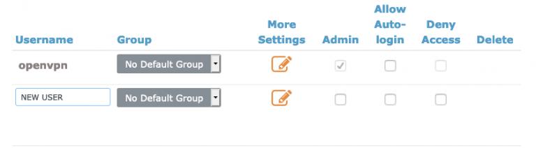 Ficha de configuración de permisos de usuario de OpenVPN