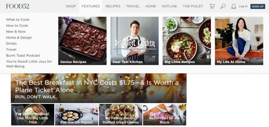 Página de inicio del blog de recetas Food52