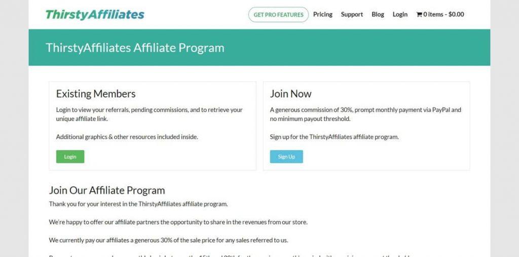 Página de inicio del programa de afiliados ThirstyAffiliate