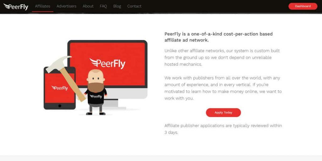 Página de inicio del programa de afiliados de PeerFly