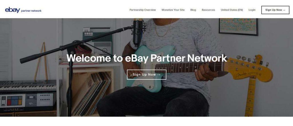 Página de inicio del programa de afiliados de la red de socios de Ebay