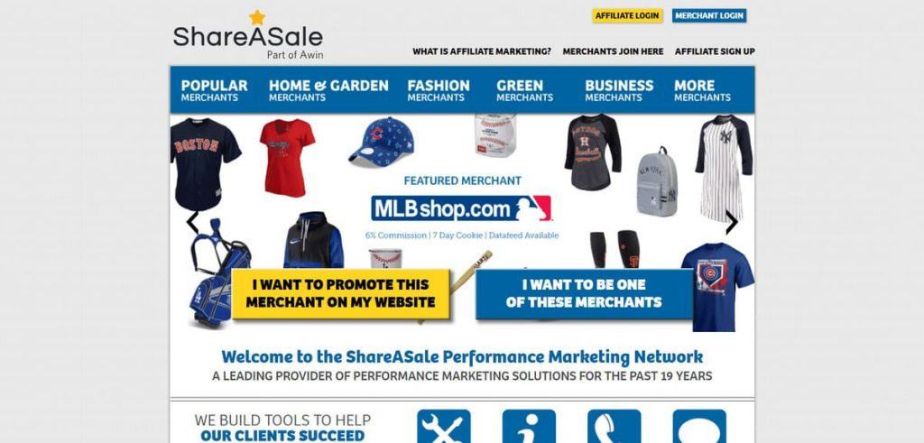 Página de inicio del programa de asociación de afiliados ShareASale