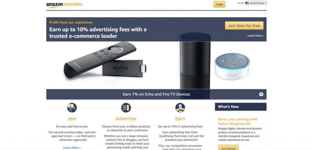 Página de registro del programa de afiliados de Amazon Associates