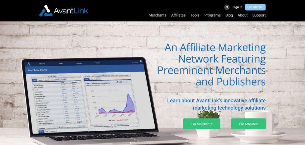 Página de registro del programa de marketing de afiliación de AvantLink