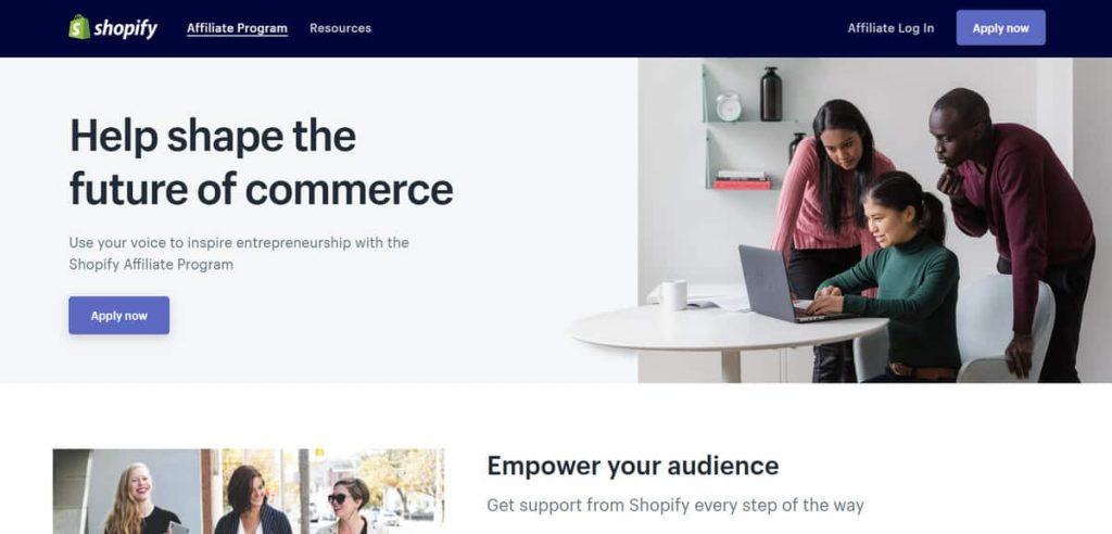 Página de solicitud del programa de afiliación de Shopify