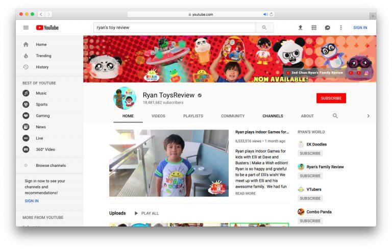 Ryan Toys Review es el canal que más gana dinero de YouTube