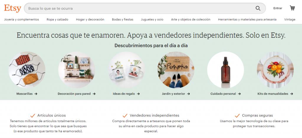 Etsy es un sitio de comercio electrónico exitoso