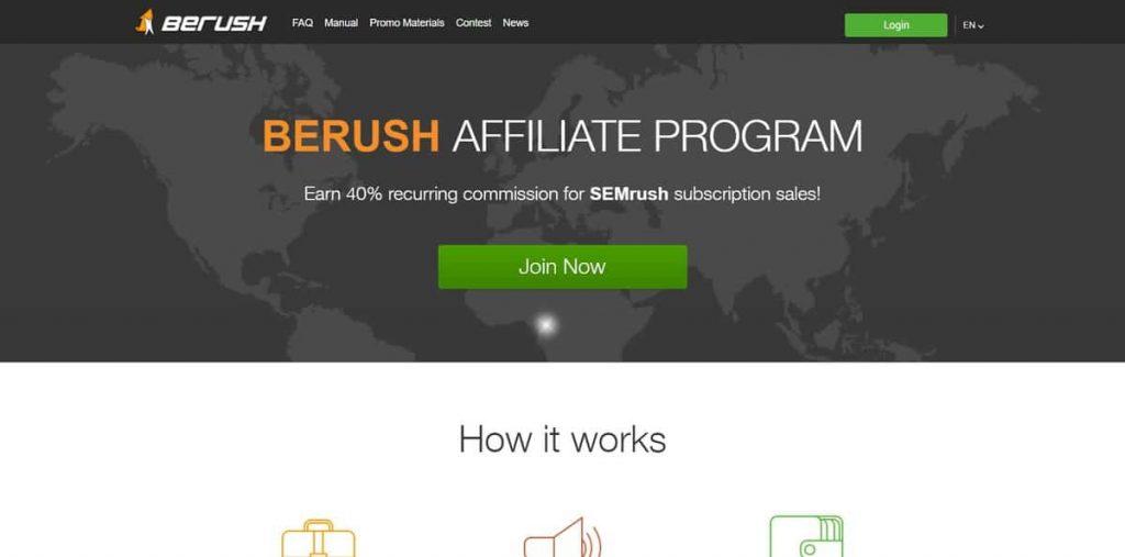 Un ejemplo de la página de inicio de SemRush Affiliates