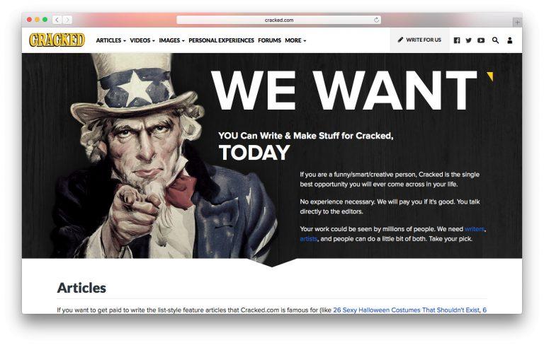 Cracked.com ofrece oportunidades para escritores freelance