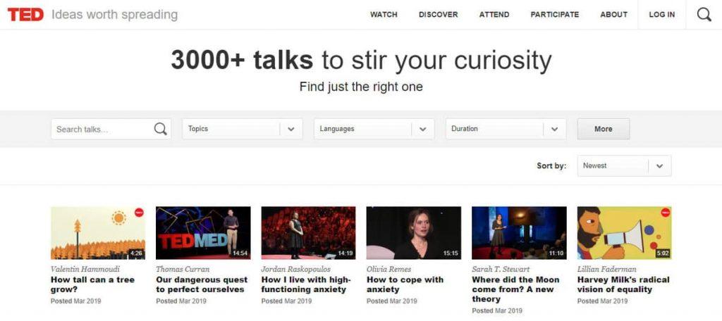 Página de inicio de TED Talks