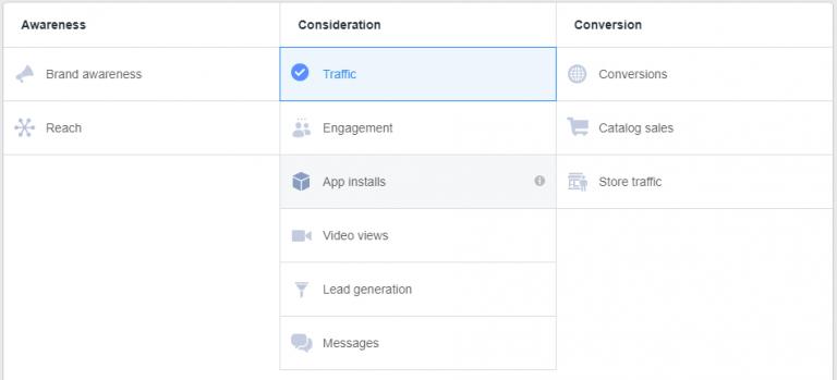 Objetivos de los anuncios de Facebook