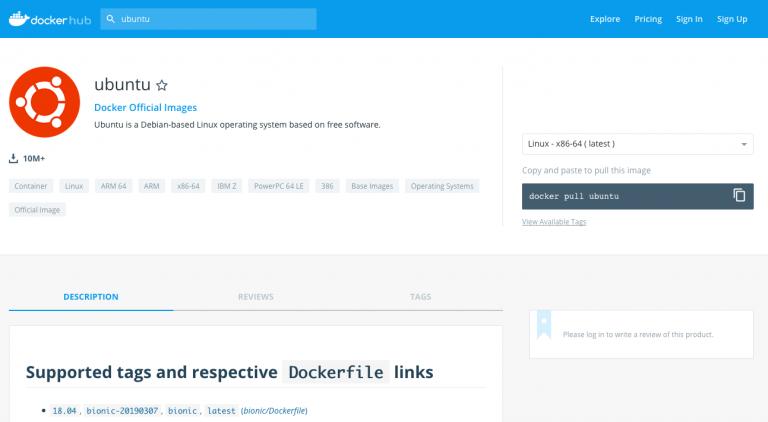 Página de imagen de Ubuntu de Docker Hub