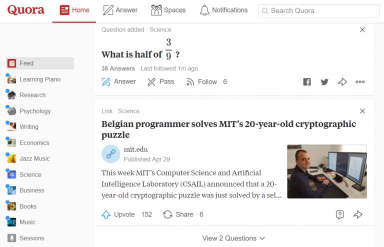 quora sitio web de preguntas y respuestas