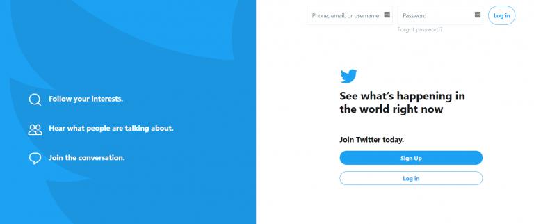 El sitio de redes sociales de Twitter para promocionar un sitio web
