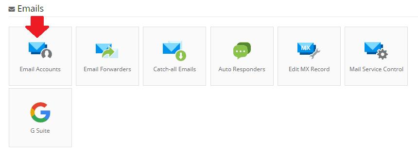 Área de correo electrónico de Hostinger