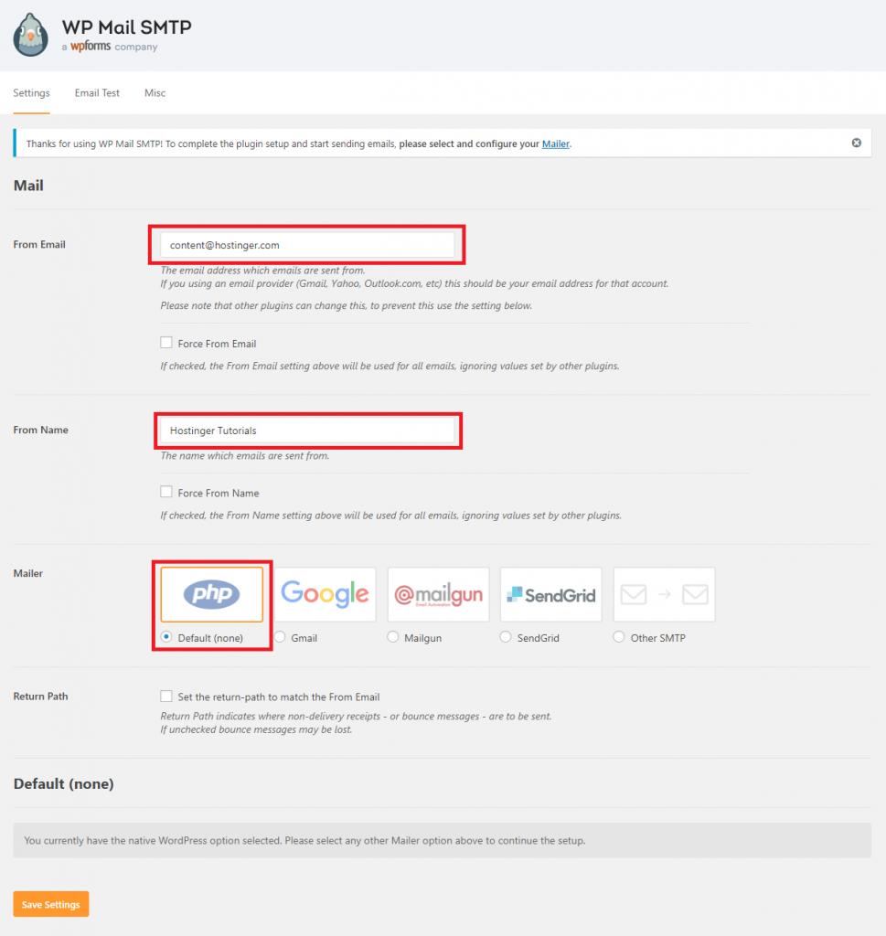 Configuración del complemento WP Mail SMTP