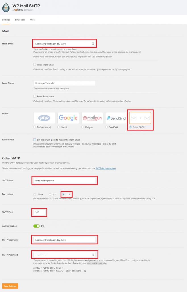 Configuración del complemento WTP Mail SMTP